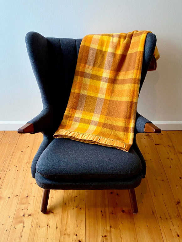 Vintage plaid Australian wool blanket - orange, sunflower yellow, caramel