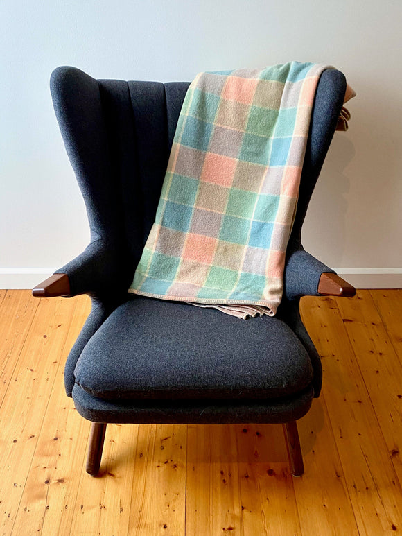 Vintage plaid Australian wool blanket - blue, pink