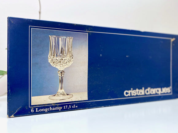 Cristal D'Arques-Durand (France) 'Longchamp' crystal wine glasses (x6) - in their original packaging!