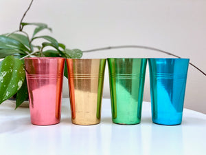 Vintage anodised cups (x4) - pink, gold, green, blue