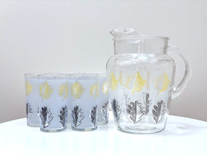 Libbey Glassware (USA), pitcher and glass set with leaf print