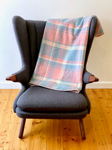 Vintage plaid Australian wool blanket - pink, blue and ivory