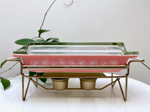 JAJ PYREX 'Daisy' in pink, #2161 shallow oblong casserole, with warming stand