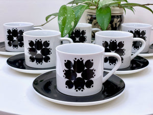 Schmid Kreglinger (Japan) 'Kelco' Lagardo Tackett-designed cup and saucer set (x6)