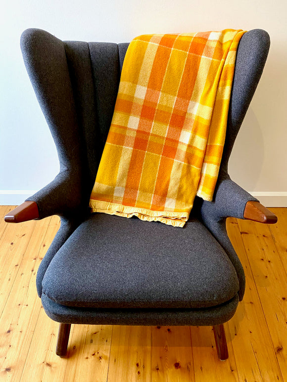 Vintage plaid Australian wool blanket - orange, mustard, ivory