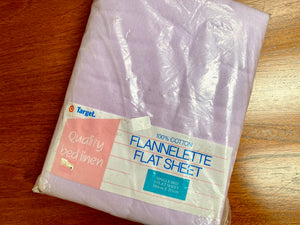 Vintage flannelette bed sheet / lavender / single bed flat sheet