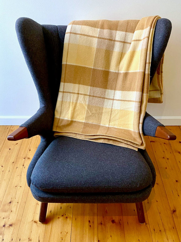 Vintage plaid Australian wool blanket - coffee, tan, ivory