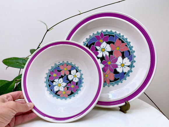 Nikko Ironstone (Japan), floral platter and serving bowl