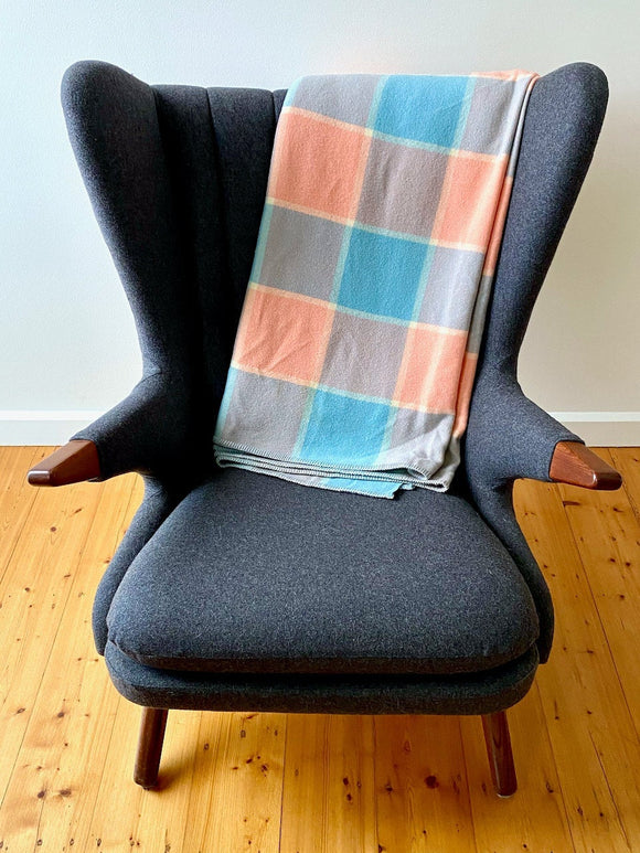 Vintage plaid Australian wool blanket - pink, blue