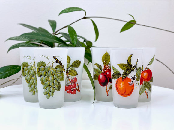 Vintage frosted glass and fruit tumblers (x6)
