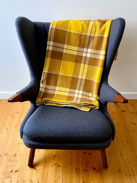 Vintage plaid Australian wool blanket - mustard, brown, ivory