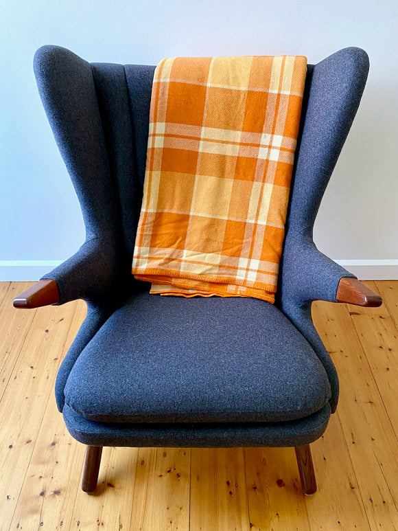 Vintage plaid Australian wool blanket - orange, dark cream, ivory