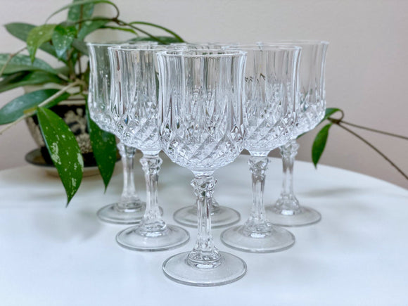 Cristal D'Arques-Durand (France) 'Longchamp' crystal wine glasses (x6)