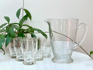 Crown Crystal Glass (Australia) Water Set - includes pitcher and tumblers (x6)