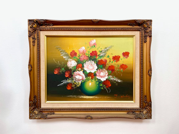 Vintage framed floral oil painting