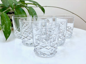 Cristal D'Arques-Durand (France) 'Diamond' crystal old fashioned glasses (x6)