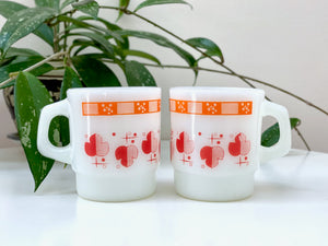 Fire King (USA) 'Shamrock' in red/orange, stackable mug [sold separately]