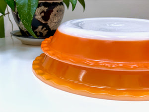 AGEE / CROWN PYREX (Australia) 'Mandarin' and 'Orange' Scalloped Pie Dishes