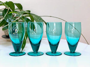 Krosno (Poland) teal sherry glasses (x4)