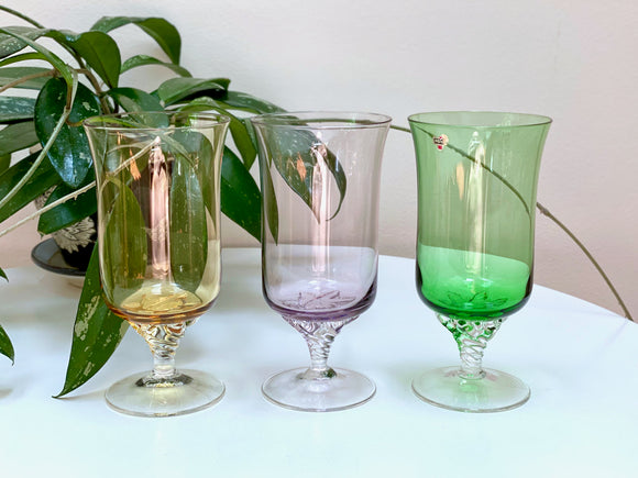 Astra (Czechoslovakia) 'Astracolour' wine glasses (x3)