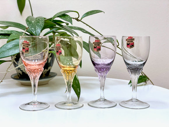 Astra (Czechoslovakia) 'Astracolour' sherry glasses (x4)