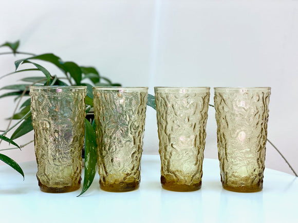 Anchor Hocking (USA) 'Milano' 12 oz flat tumblers, in honey gold (x4)
