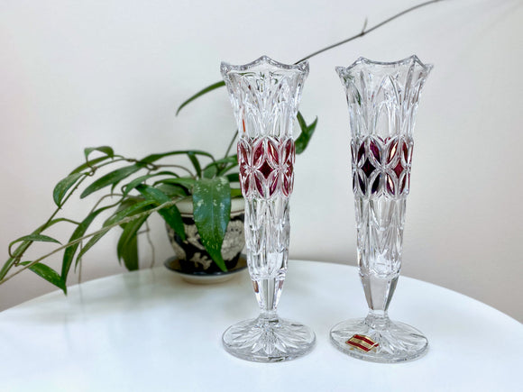 Echt Bleikristall (West Germany) crystal vases (x2)