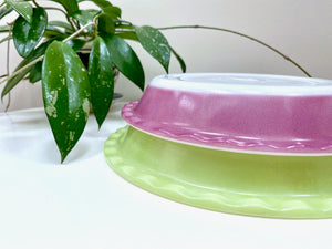 AGEE / CROWN PYREX (Australia) 'Plum' and 'Lime' Scalloped Pie Dishes