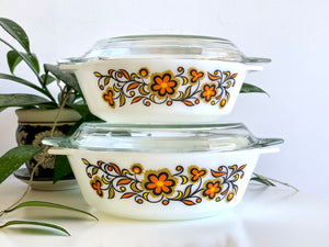 JAJ PYREX (England) 'Flora' #509 and #513 Round Casseroles [sold separately]