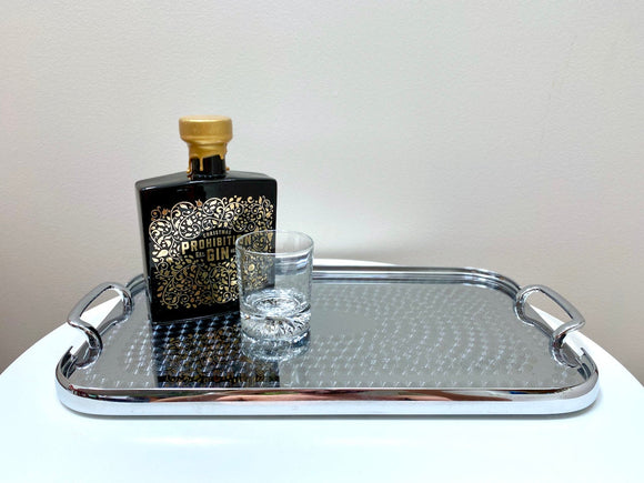 Vintage etched stainless steel drinks tray - stunning!