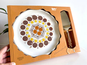 Gres Stoneware (Japan) 'Northland' cake platter with server