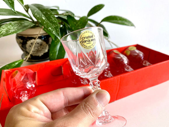 Cristal D'Arques-Durand (France) 'Auteuil' crystal sherry glasses (x6) - in their original packaging!