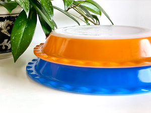 AGEE / CROWN PYREX (Australia) 'Mandarin' and 'Old Country Blues' Scalloped Pie Dishes