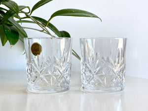 Cristal D'Arques-Durand (France) 'Chantilly Taille Beaugency' crystal old fashioned glasses (x2)