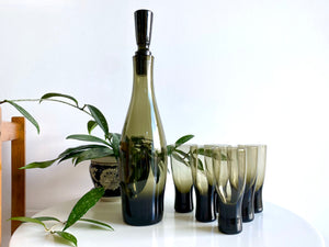Krosno (Poland) decanter and spirit glasses (x6)