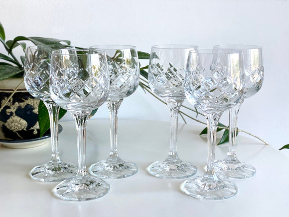 Bohemia Crystal (Czech Republic) crystal wine glasses (x6)
