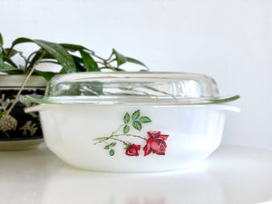 AGEE / CROWN PYREX 'Ruby Rose' 2.25L Round Casserole