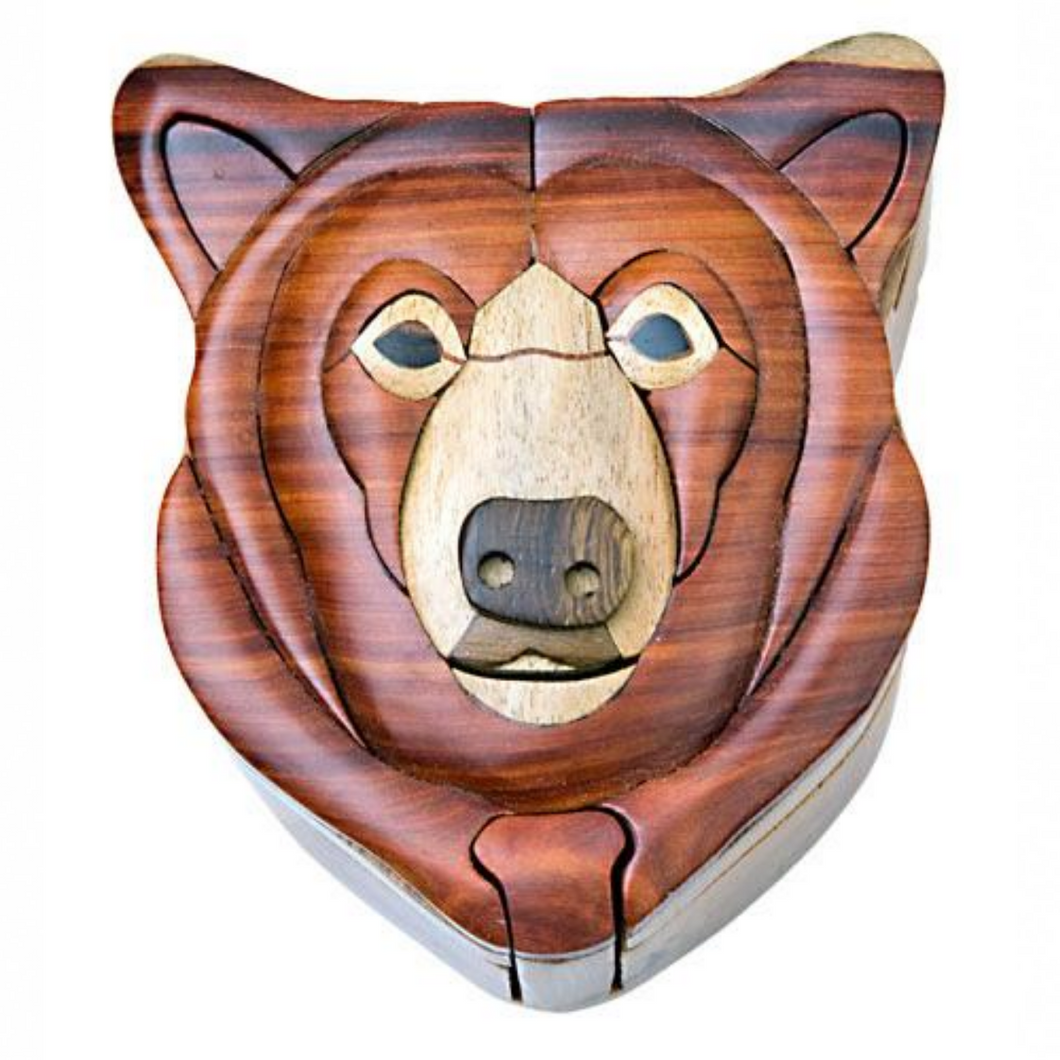 Bear Head Intarsia Wood Puzzle Box