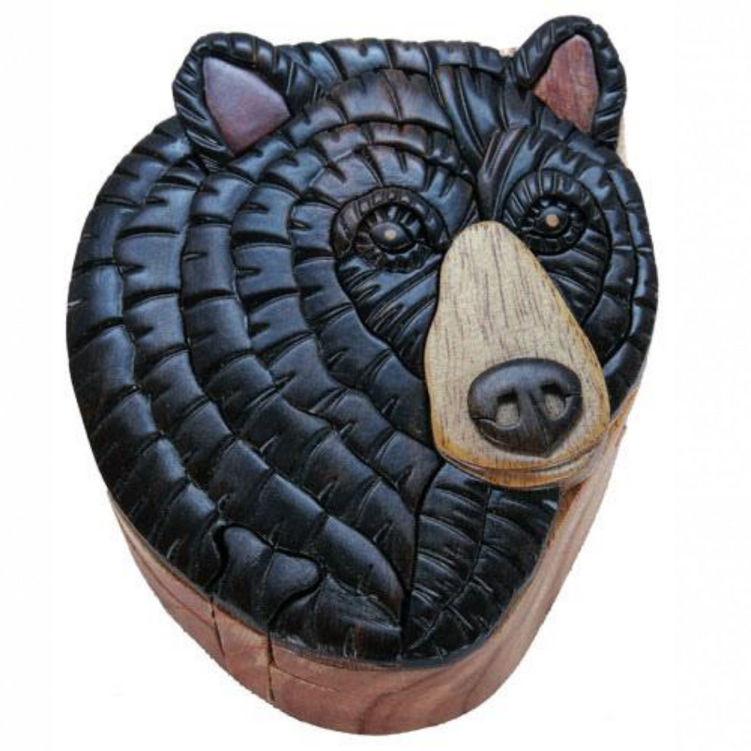 Black Bear Intarsia Wood Puzzle Box