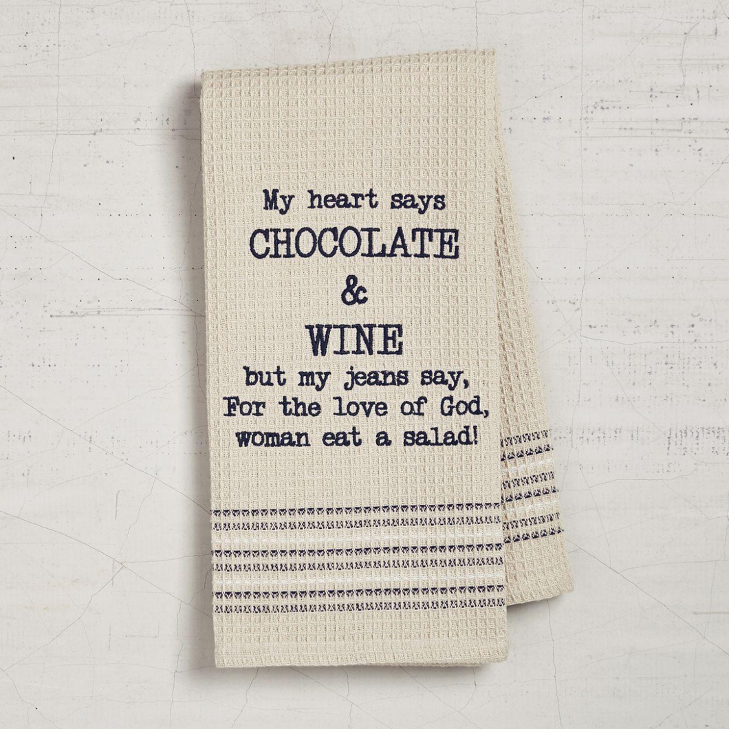 Chocolate and Wine Dishtowel
