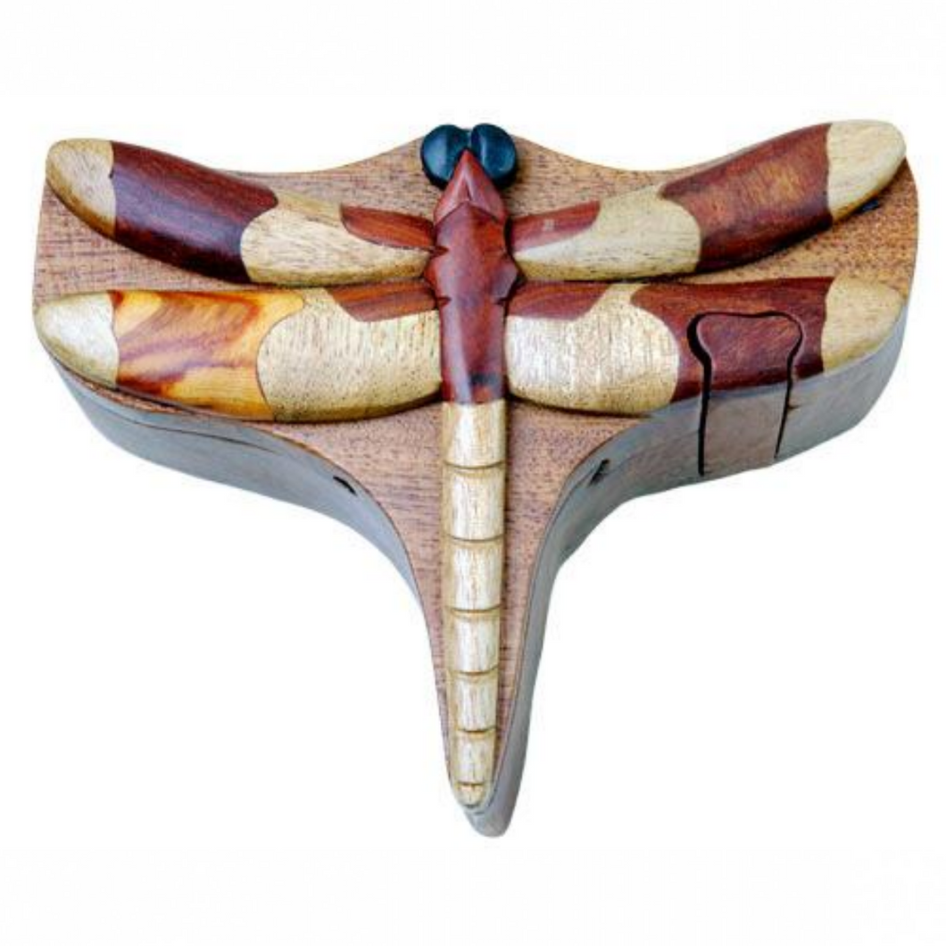 Dragon Fly Intarsia Wood Puzzle Box