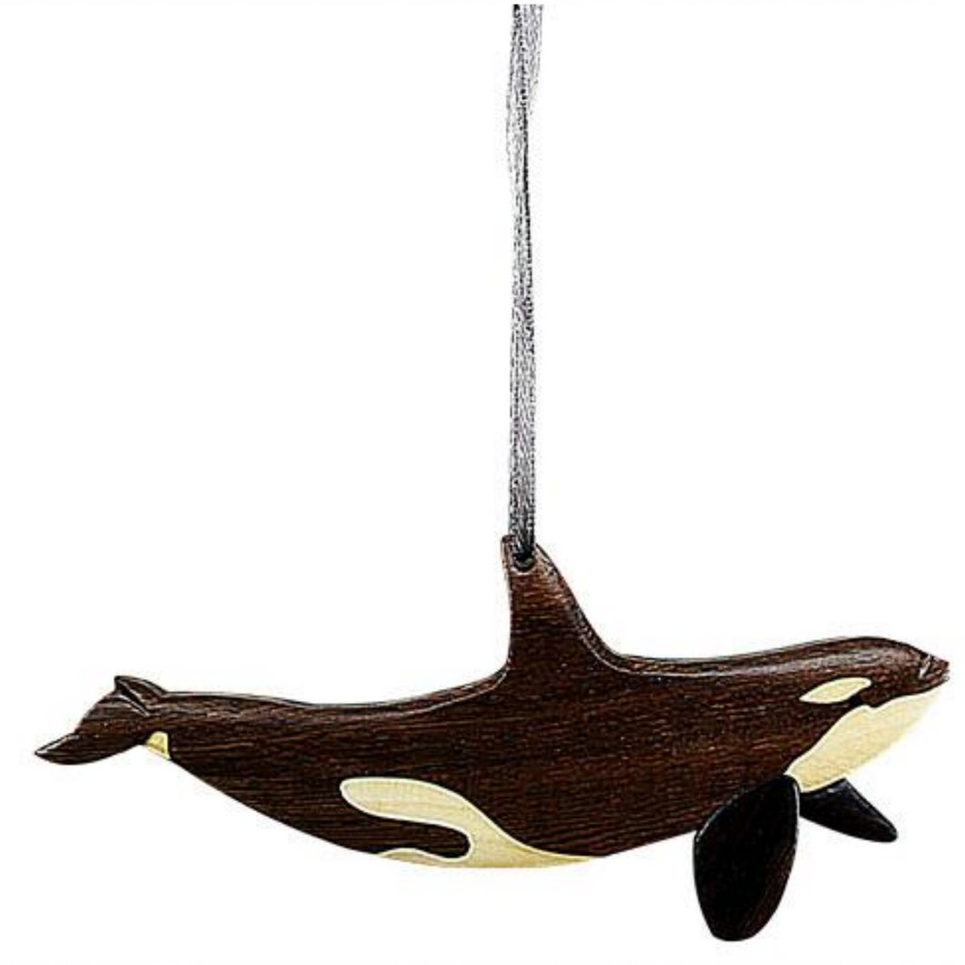 Orca Intarsia Wood Ornament