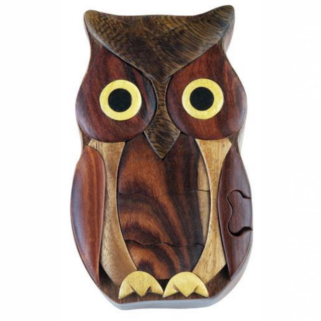 Owl Intarsia Wood Puzzle Box