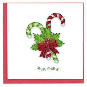 Quilled Candy Cane Holiday Card