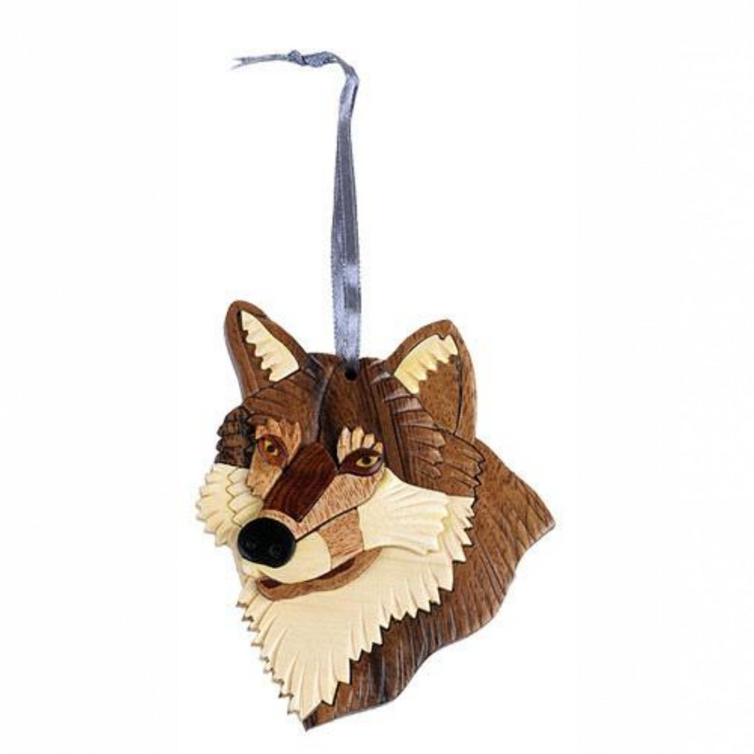 Wolf Instarsia Wood Ornament