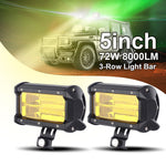 Pair 5 INCH 72W LED Light Work Bar Driving Fog Lamp For Offroad SUV Truck Boat 3000K