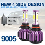 2x 9005 HB3 H10 4-sides LED Headlight Bulb High Beam Canbus 6000K White 120W 32000LM