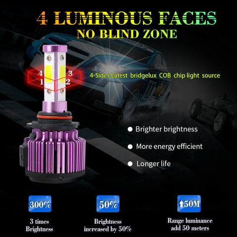 4-Side 9012 120W 32000LM 360掳 LED Headlight Bulbs High Low Beam Fog Light 6000K