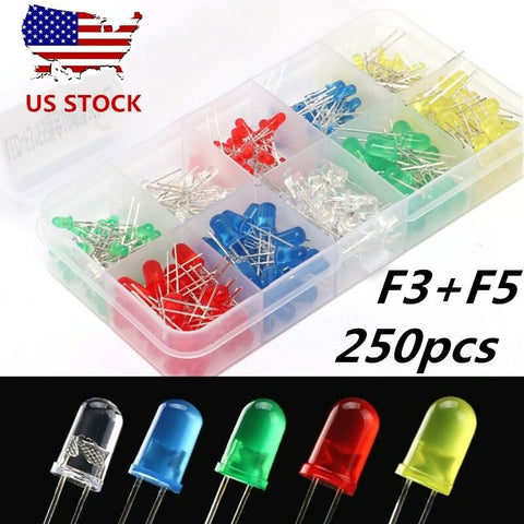250X 3mm 5mm 2 Pin Red White Yellow Green Blue LED Assorted Emitting Diodes Kit