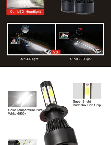 H7 2000W 320000LM 4-Sided LED Headlight Kit High or Lo Light Bulb 6000K Car